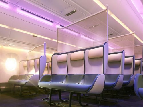 A renowned design firm unveiled a new concept to overhaul airplane cabins for a post-pandemic world that includes removing cabin classes and staggering economy seats - take a look