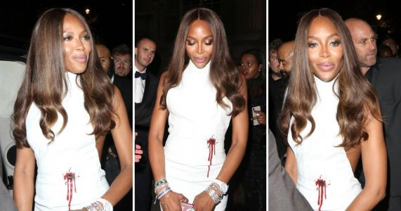 Naomi Campbell makes shocking statement with blood pouring out of bullet hole in Fashion For Relief dress