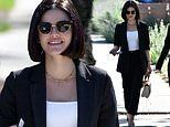 Lucy Hale is all smiles while out to lunch with a friend after her horror movie Fantasy Island bombs