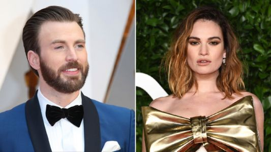 Lily James and Chris Evans spark romance rumours as they're pictured arriving at hotel together