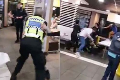 'Wet floor' cone used to beat security guard during shocking late-night McDonalds brawl