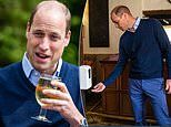 Prince William raises a pint to pub re-openings in England as he visits one of his locals in Norfolk