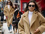 Emily Ratajkowski looks effortlessly chic as she braves the NYC chill to take dog Colombo for a walk