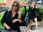 Emily Atack shows off her gorgeous curves in blazer-style minidress