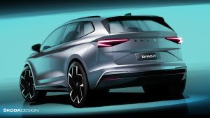 New 2021 Skoda Enyaq electric car teased in sketches - pictures