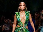 Jennifer Lopez her iconic Grammys outfit at Versace show during Milan Fashion Week