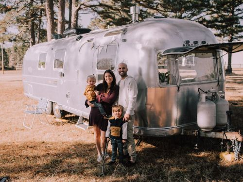 A family of 4 lived in a 200-square-foot Airstream trailer that only had one bed