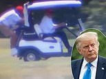Donald Trump makes his caddy stand on the back of his golf cart hanging on for dear life
