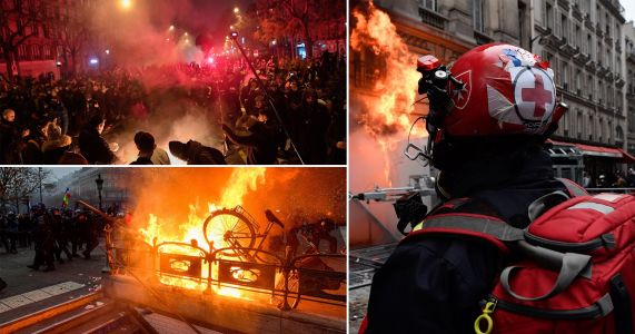 Paris in flames as strikes shut down hospitals, schools and transport
