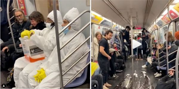 Instagram comedians scared subway riders in a coronavirus prank where they dressed in hazmat suits and poured a bucket of Kool-Aid on New York City train car