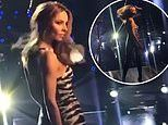 Cheryl dons a very sexy tiger print unitard as she swishes her hair