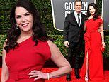 Lauren Graham stuns in a red one-shoulder gown alongside longtime love Peter Krause at Golden Globes