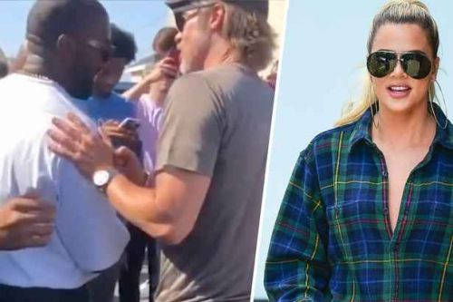 Kanye West and Brad Pitt spotted together at Sunday Service amid rumours he set the actor up Kim Kardashian's sister Khloe