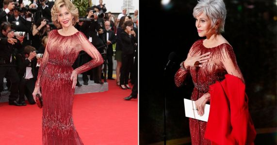 Jane Fonda recycles Cannes dress at the Oscars - and teams with 'climate change' coat she's been arrested in five times