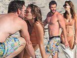 Liam Hemsworth packs on the PDA with new girlfriend Gabriella Brooks at the beach in Byron Bay