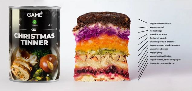 This £2 Vegan 'Christmas Tinner' packs three courses into a can