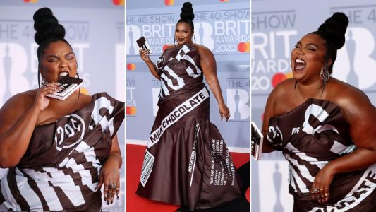 Brit Awards 2020: Lizzo is sweeter than chocolate with Hershey's inspired gown