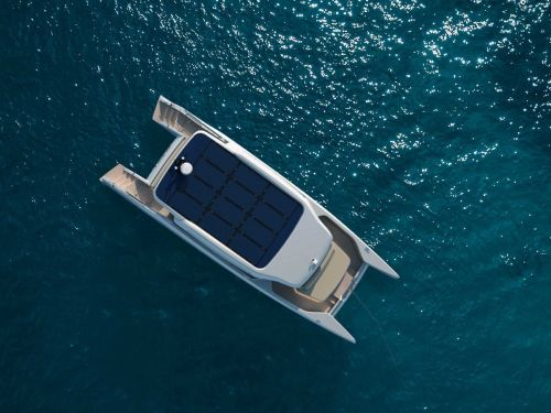 This solar-powered yacht has a range of 56 nautical miles and is designed for weekend cruises - take a look
