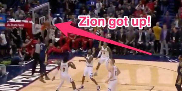 Zion Williamson soared to the rim for a monster alley-oop in his NBA first dunk