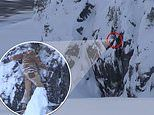 Terrifying moment snowboarder get stuck on snowy cliff in Canada