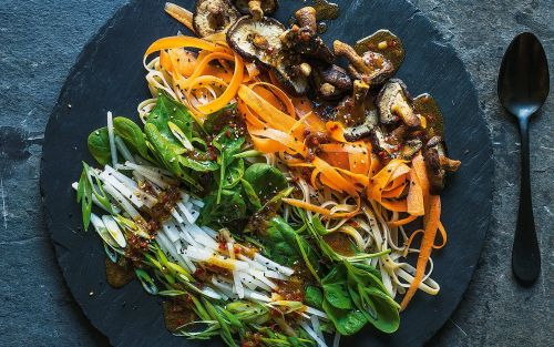 Shaved carrot, shiitake, spinach and noodle salad recipe