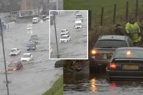 Watch cars submerged in flood water attempt to drive through Paisley street