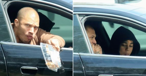 Jeremy Meeks dumps his chicken bones out of car window after grocery stop with female friend