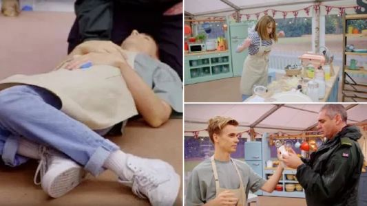 Celebrity Bake Off devolves into absolute horror as Joe Sugg slices off part of his finger and passes out