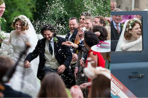 First pictures as Game of Thrones stars Kit Harington and Rose Leslie get married at Aberdeenshire church