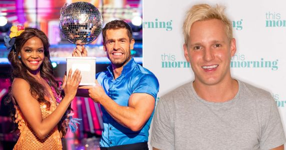 Jamie Laing congratulates Kelvin Fletcher and Oti Mabuse following Strictly Come Dancing win