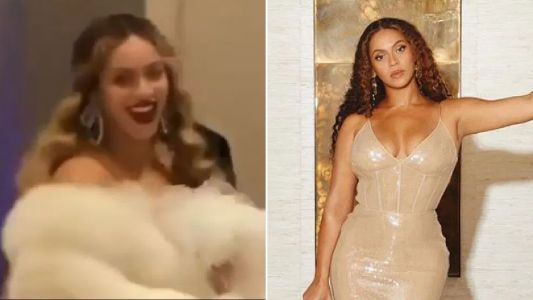 Beyonce channels Great Gatsby in fur coat as she attends second night of Jay Z's charity gala
