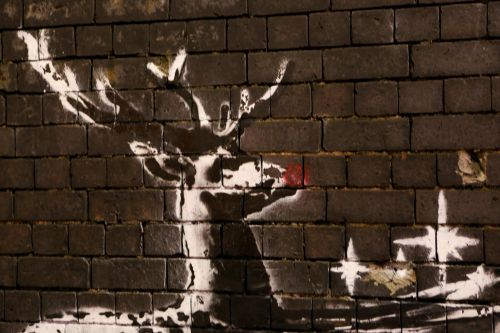 Vandals target Banksy's new reindeer mural by giving them red noses
