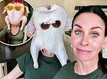 Courteney Cox recreates iconic Friends scene by dancing with raw turkey on her head