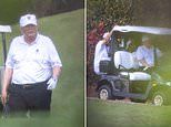 Donald Trump takes to the fairway for a round of golf after acquittal