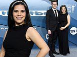 America Ferrera drapes stunning black gown over her baby bump at the SAG Awards with husband