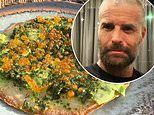 Pete Evans shows off his take on the classic avocado toast - topped with salmon caviar