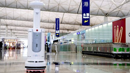 Hong Kong Airport is using virus-killing robots to disinfect public areas