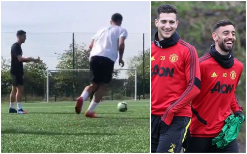 Manchester United duo Bruno Fernandes and Diogo Dalot train together in extra sessions