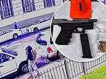 Moment two rival teenage 'gang members' open fire at each other outside Brooklyn high school