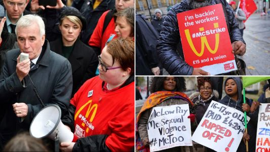 Striking McDonald's staff demanding £15 an hour say they want Labour government