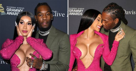Cardi B wore the most NSFW dress to Diddy's pre-Grammys party and Offset couldn't keep his hands off