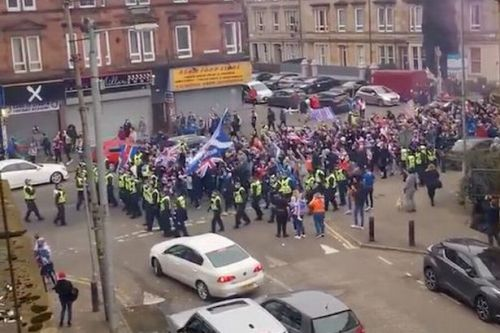 Rangers fans marched away from Ibrox by cops after hundreds gather amid lockdown