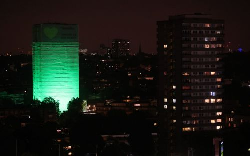 Grenfell Tower floodlit green to mark one-year anniversary