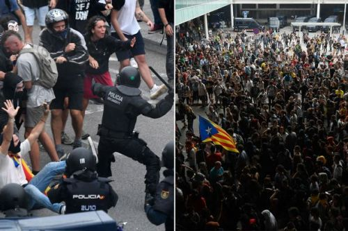 Barcelona Airport flight chaos after Catalan protesters clash with police and block roads