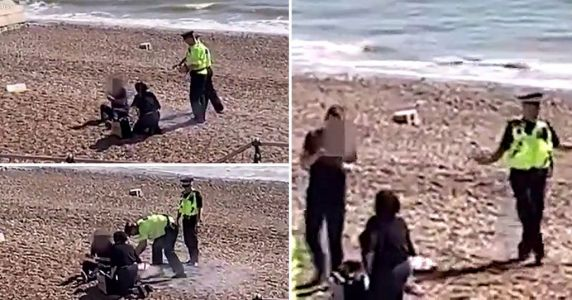 Police fill helmet with seawater to put out barbecue on Brighton beach