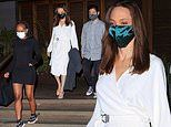 Angelina Jolie steps out for a swanky LA dinner with son Pax and daughter Zahara
