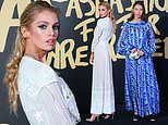 Stella Maxwell suffers wardrobe malfunction in a sheer dress at Fashion For Relief party at LFW