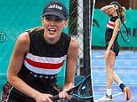 WAG Rebecca Judd works up a sweat on a Melbourne tennis court