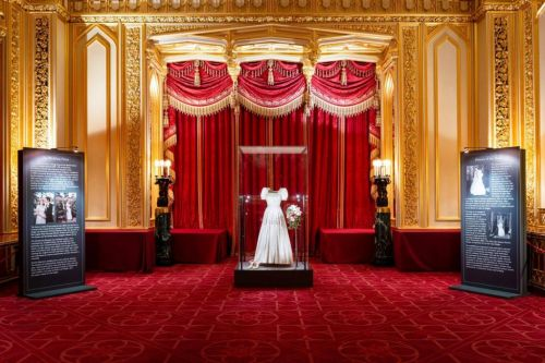 Princess Beatrice's wedding gown takes pride of place at Windsor Castle