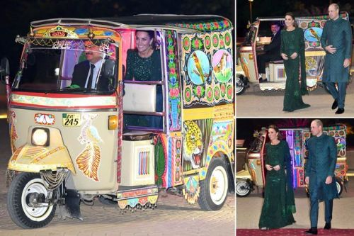 Kate Middleton and Prince William ride in tuk-tuk for reception in Pakistan